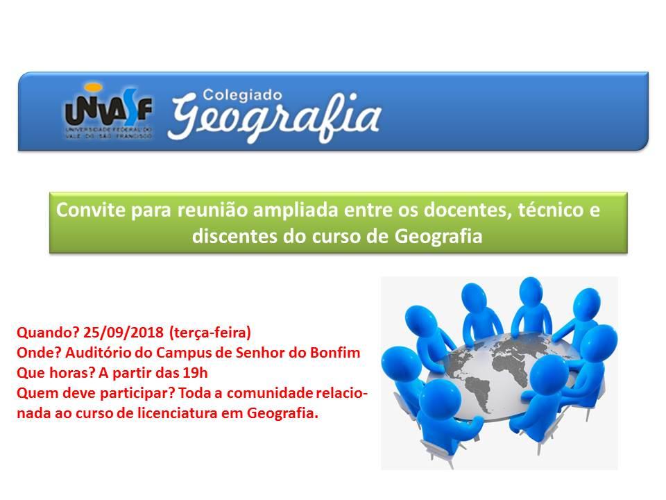 Reunião Ampliada do curso de Geografia com CGEO com os estudantes